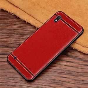Силиконовый матовый непрозрачный чехол с текстурным покрытием Кожа для Samsung Galaxy A10  Красный