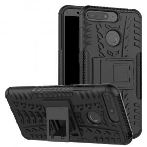 Противоударный силиконовый матовый непрозрачный чехол с поликарбонатными вставками экстрим защиты с встроенной ножкой-подставкой для Huawei Honor 7A Pro/7C/Y6 Prime (2018) Черный