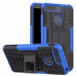 Противоударный силиконовый матовый непрозрачный чехол с поликарбонатными вставками экстрим защиты с встроенной ножкой-подставкой для Huawei Honor 7A Pro/7C/Y6 Prime (2018) Синий