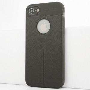 Силиконовый матовый непрозрачный чехол с текстурным покрытием Кожа для Iphone 7/8 Серый