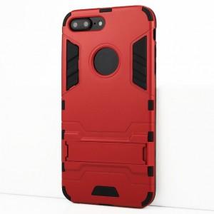Двухкомпонентный силиконовый матовый непрозрачный чехол с поликарбонатными бампером и крышкой и встроенной ножкой-подставкой для Iphone 7 Plus/8 Plus Красный