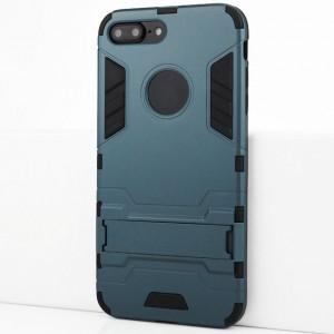 Двухкомпонентный силиконовый матовый непрозрачный чехол с поликарбонатными бампером и крышкой и встроенной ножкой-подставкой для Iphone 7 Plus/8 Plus Синий