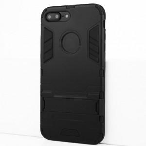 Двухкомпонентный силиконовый матовый непрозрачный чехол с поликарбонатными бампером и крышкой и встроенной ножкой-подставкой для Iphone 7 Plus/8 Plus Черный