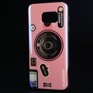 Силиконовый глянцевый непрозрачный чехол с принтом для Samsung Galaxy S7 Розовый
