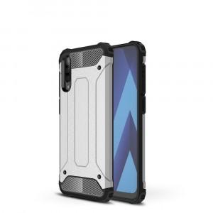 Противоударный двухкомпонентный силиконовый матовый непрозрачный чехол с поликарбонатными вставками экстрим защиты с текстурным покрытием Металлик для Samsung Galaxy A70  Серый