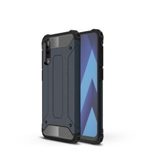 Противоударный двухкомпонентный силиконовый матовый непрозрачный чехол с поликарбонатными вставками экстрим защиты с текстурным покрытием Металлик для Samsung Galaxy A70  Синий
