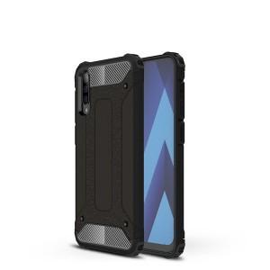 Противоударный двухкомпонентный силиконовый матовый непрозрачный чехол с поликарбонатными вставками экстрим защиты с текстурным покрытием Металлик для Samsung Galaxy A70  Черный