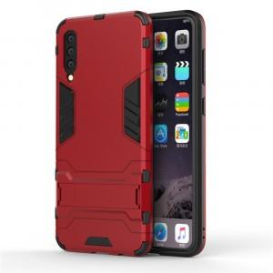 Противоударный двухкомпонентный силиконовый матовый непрозрачный чехол с поликарбонатными вставками экстрим защиты с встроенной ножкой-подставкой и текстурным покрытием Металлик для Samsung Galaxy A70  Красный