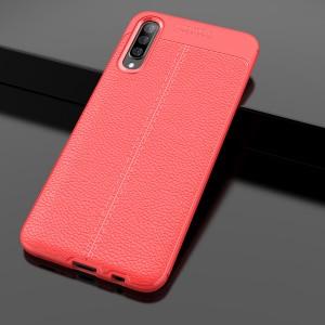 Силиконовый матовый непрозрачный чехол с текстурным покрытием Кожа для Samsung Galaxy A70  Красный