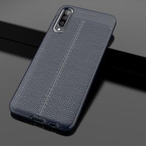 Силиконовый матовый непрозрачный чехол с текстурным покрытием Кожа для Samsung Galaxy A70  Синий