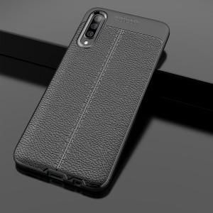 Силиконовый матовый непрозрачный чехол с текстурным покрытием Кожа для Samsung Galaxy A70  Черный