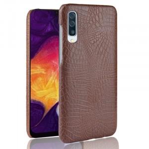 Пластиковый непрозрачный матовый чехол с текстурным покрытием Крокодил для Samsung Galaxy A70  Коричневый
