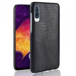 Пластиковый непрозрачный матовый чехол с текстурным покрытием Крокодил для Samsung Galaxy A70  Черный