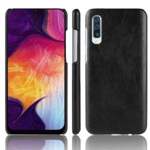 Пластиковый непрозрачный матовый чехол с текстурным покрытием Кожа для Samsung Galaxy A70  Черный