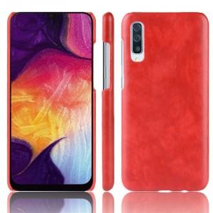 Пластиковый непрозрачный матовый чехол с текстурным покрытием Кожа для Samsung Galaxy A70  Красный