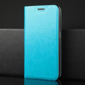 Глянцевый водоотталкивающий чехол флип подставка на силиконовой основе с отсеком для карт для Samsung Galaxy A70 Голубой