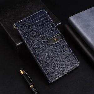 Чехол портмоне подставка текстура Крокодил на силиконовой основе с отсеком для карт на дизайнерской магнитной защелке для Samsung Galaxy A70  Синий