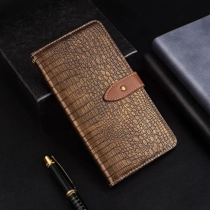 Чехол портмоне подставка текстура Крокодил на силиконовой основе с отсеком для карт на дизайнерской магнитной защелке для Samsung Galaxy A70  Коричневый