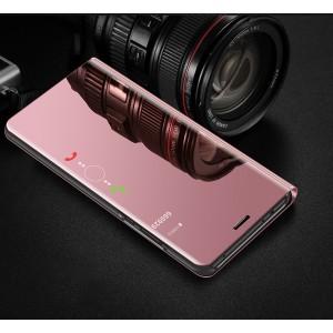 Пластиковый непрозрачный матовый чехол с полупрозрачной крышкой с зеркальным покрытием для Huawei Honor 8X Розовый