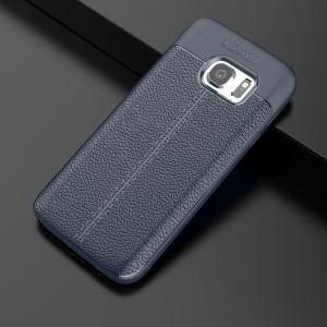 Силиконовый матовый непрозрачный чехол с текстурным покрытием Кожа для Samsung Galaxy S7 Edge Синий