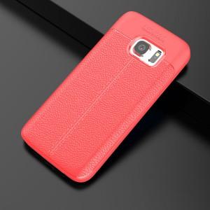 Силиконовый матовый непрозрачный чехол с текстурным покрытием Кожа для Samsung Galaxy S7 Edge Красный