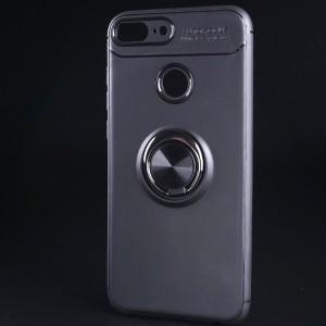 Силиконовый матовый непрозрачный чехол с встроенным кольцом-подставкой для Huawei Honor 9 Lite Черный