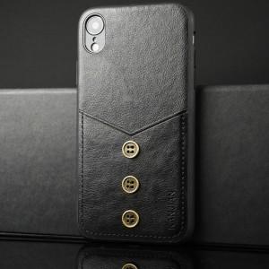 Силиконовый матовый непрозрачный чехол с аппликацией ручной работы, отсеком для карт и текстурным покрытием Кожа для Iphone Xr Черный
