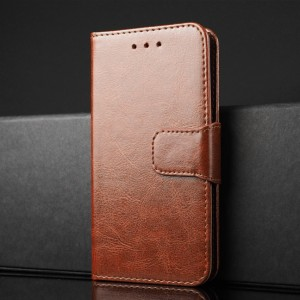 Чехол портмоне подставка на силиконовой основе с отсеком для карт на магнитной защелке для Xiaomi RedMi 4 Коричневый