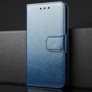 Чехол портмоне подставка на силиконовой основе с отсеком для карт на магнитной защелке для Xiaomi RedMi 4 Синий
