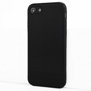 Силиконовый матовый непрозрачный чехол с текстурным покрытием Карбон для Iphone 7/8 Черный