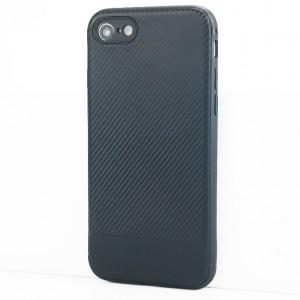 Силиконовый матовый непрозрачный чехол с текстурным покрытием Карбон для Iphone 7/8 Синий