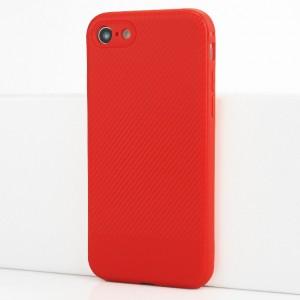 Силиконовый матовый непрозрачный чехол с текстурным покрытием Карбон для Iphone 7/8 Красный