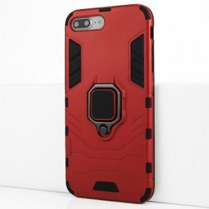 Двухкомпонентный силиконовый матовый непрозрачный чехол с поликарбонатными бампером и крышкой и встроенным кольцом-подставкой для Iphone 7 Plus/8 Plus Красный