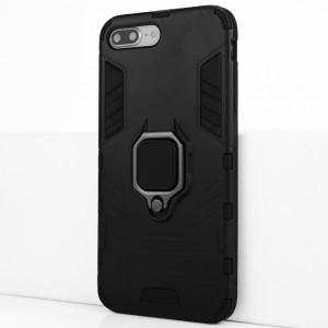 Двухкомпонентный силиконовый матовый непрозрачный чехол с поликарбонатными бампером и крышкой и встроенным кольцом-подставкой для Iphone 7 Plus/8 Plus Черный
