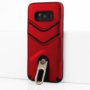Двухкомпонентный силиконовый матовый непрозрачный чехол с поликарбонатной крышкой, встроенной ножкой-подставкой и текстурным покрытием Линии для Samsung Galaxy S8 Красный