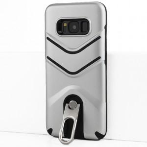 Двухкомпонентный силиконовый матовый непрозрачный чехол с поликарбонатной крышкой, встроенной ножкой-подставкой и текстурным покрытием Линии для Samsung Galaxy S8 Серый