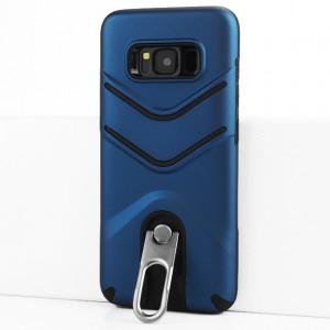 Двухкомпонентный силиконовый матовый непрозрачный чехол с поликарбонатной крышкой, встроенной ножкой-подставкой и текстурным покрытием Линии для Samsung Galaxy S8 Синий