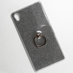 Силиконовый глянцевый транспарентный чехол с бумажным вкладышем, встроенным кольцом-подставкой и текстурным покрытием Золото для Sony Xperia Z1