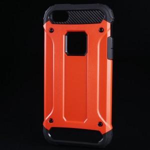 Противоударный двухкомпонентный силиконовый матовый непрозрачный чехол с поликарбонатными вставками экстрим защиты для Iphone 5/5s/SE Красный