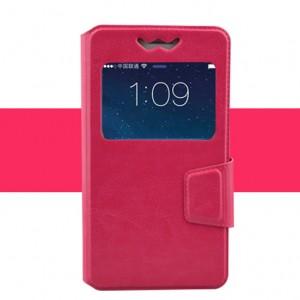 Горизонтальный чехол книжка подставка из искусственной кожи с окном вызова и магнитной защелкой 4.9-5.2 Пурпурный