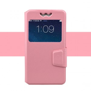 Горизонтальный чехол книжка подставка из искусственной кожи с окном вызова и магнитной защелкой 5.3-5.5 Розовый