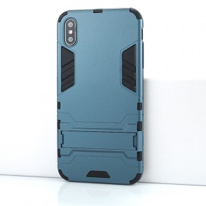 Двухкомпонентный силиконовый матовый непрозрачный чехол с поликарбонатными бампером и крышкой и встроенной ножкой-подставкой для Iphone Xs Max Синий