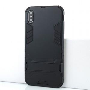 Двухкомпонентный силиконовый матовый непрозрачный чехол с поликарбонатными бампером и крышкой и встроенной ножкой-подставкой для Iphone Xs Max Черный