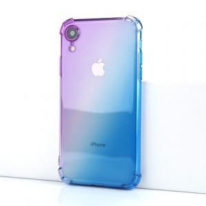 Силиконовый глянцевый полупрозрачный градиентный чехол с усиленными углами для Iphone Xr Фиолетовый