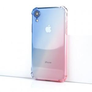 Силиконовый глянцевый полупрозрачный градиентный чехол с усиленными углами для Iphone Xr Голубой