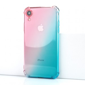 Силиконовый глянцевый полупрозрачный градиентный чехол с усиленными углами для Iphone Xr Розовый