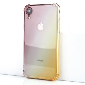 Силиконовый глянцевый полупрозрачный градиентный чехол с усиленными углами для Iphone Xr Черный