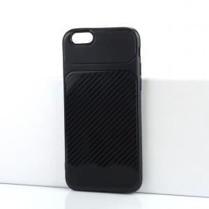 Силиконовый матовый непрозрачный чехол с текстурным покрытием Карбон для Iphone 6/6s Черный