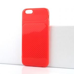 Силиконовый матовый непрозрачный чехол с текстурным покрытием Карбон для Iphone 6/6s Красный