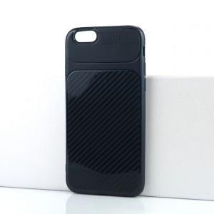 Силиконовый матовый непрозрачный чехол с текстурным покрытием Карбон для Iphone 6/6s Синий